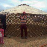 Setting up a nomad family's ger or yurt, Gobi Desert, Mongolia